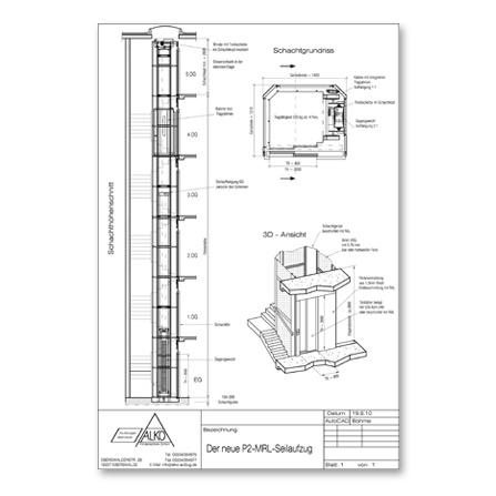 aufzug ohne unterfahrt bau au erhalb der stadt. Black Bedroom Furniture Sets. Home Design Ideas